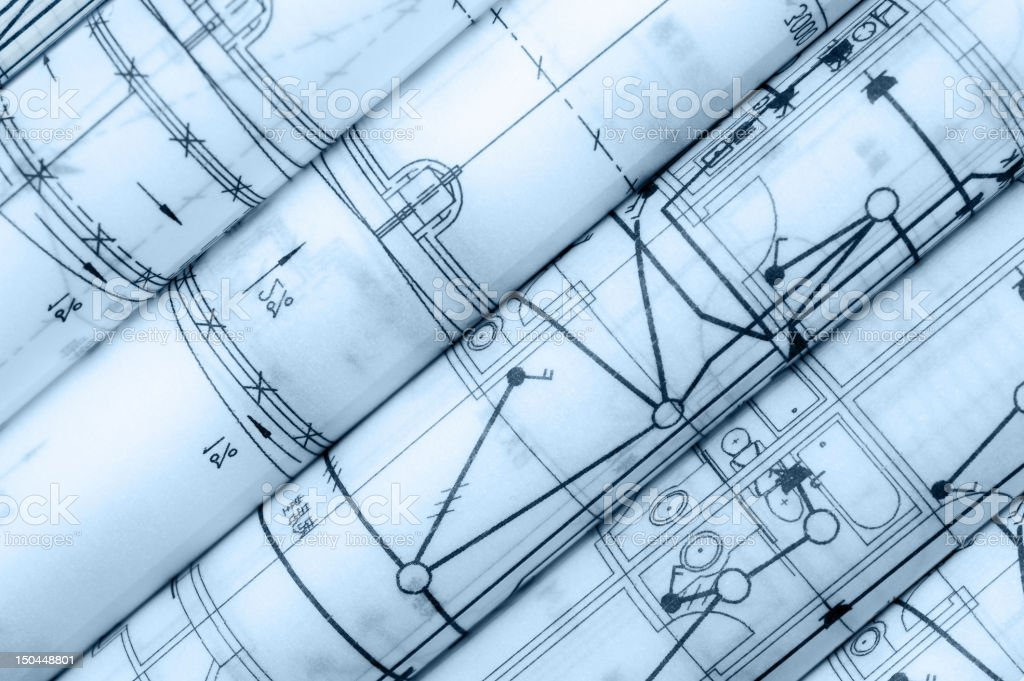 Construction Blueprint-Semi-Transparent Parchment Paper royalty-free stock photo