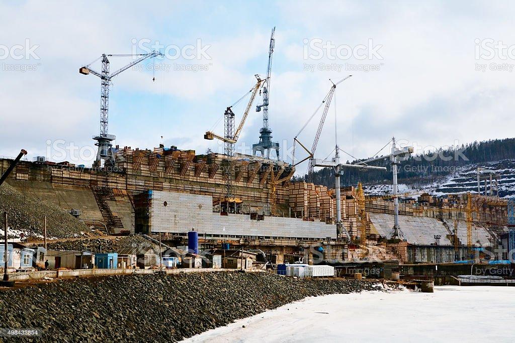Construction Boguchanskaya GES stock photo