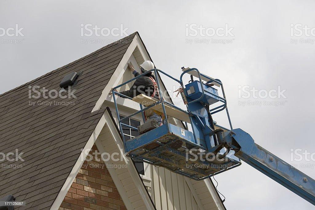 construction boom lift stock photo