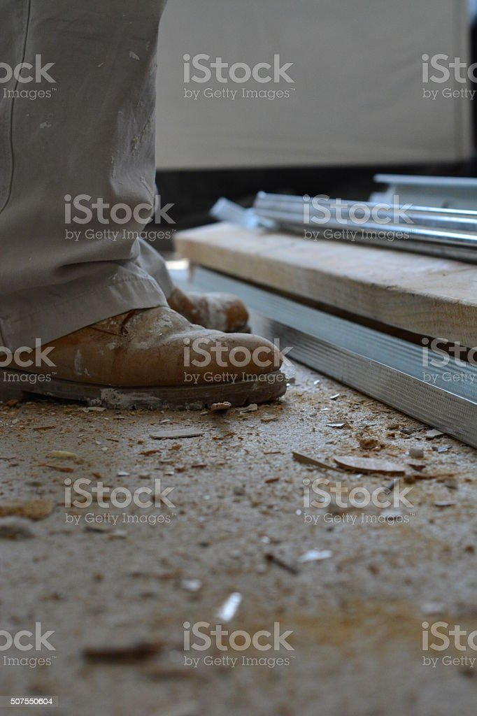 Construction boots stock photo