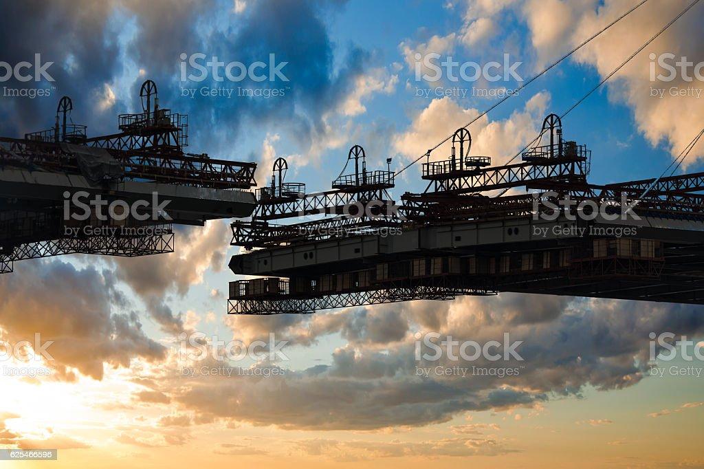 construction bridge crossing stock photo