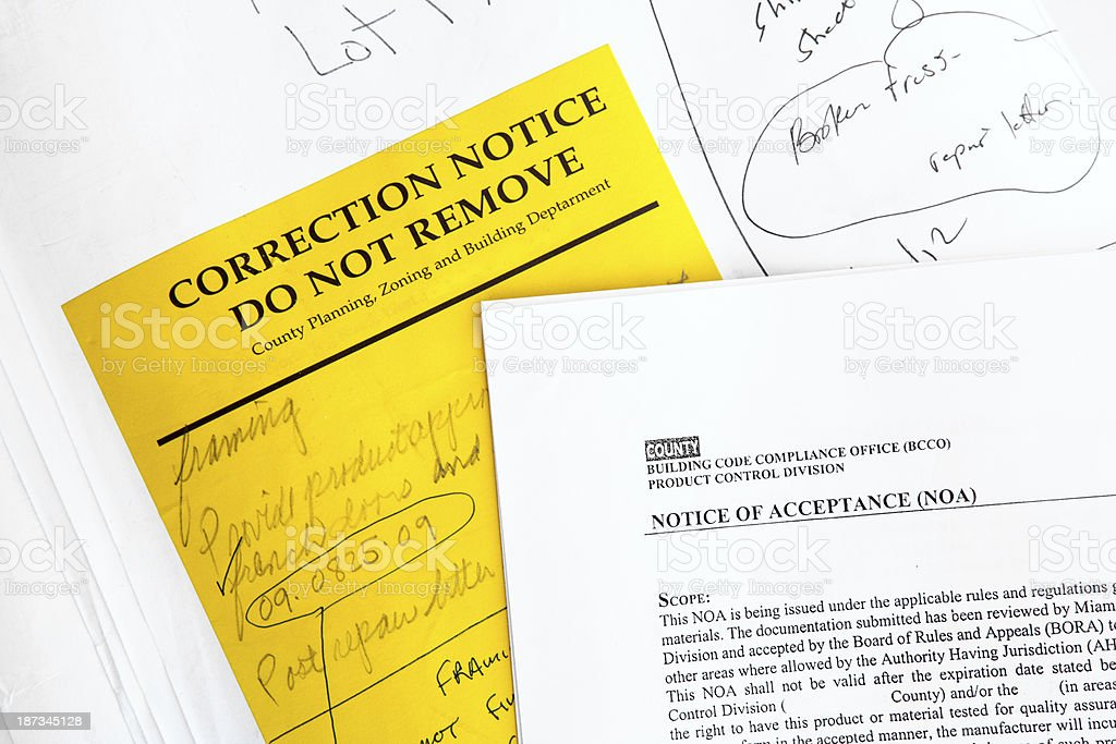 Construction:  Building Permit Correction and Acceptance Notice RM royalty-free stock photo