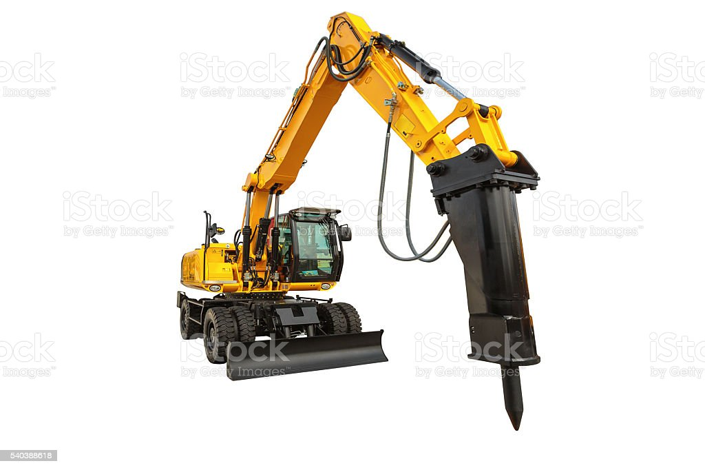Construction bulldozer and hydraulic breaker isolated with clipp stock photo