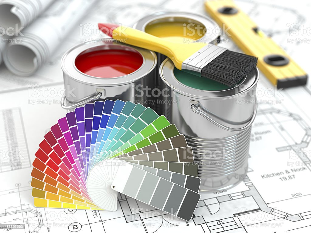 Construction. Cans of paint with colour palette and paintbrush. stock photo