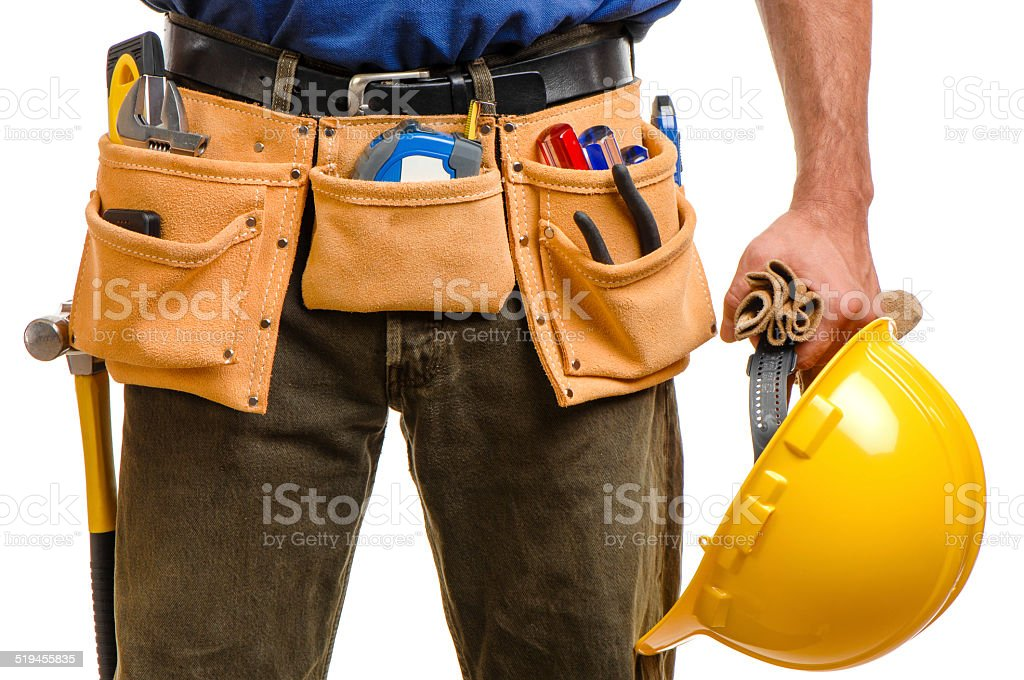 Construction Carpenter Contractor Isolated Isolated on White Background Background stock photo