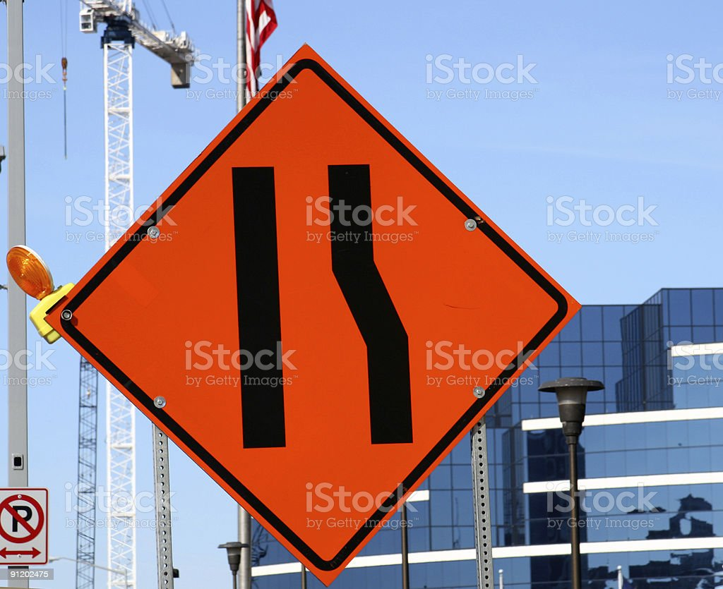Construction City Concepts: Road Mergine Sign Cityscape stock photo