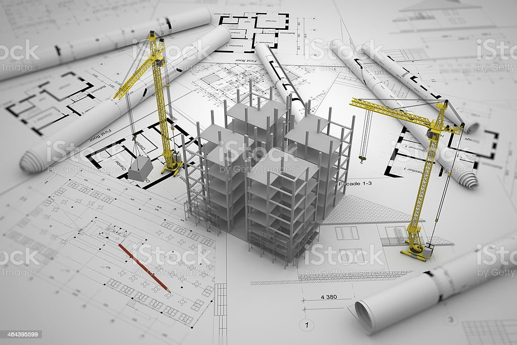 construction concept: drawings, building royalty-free stock photo