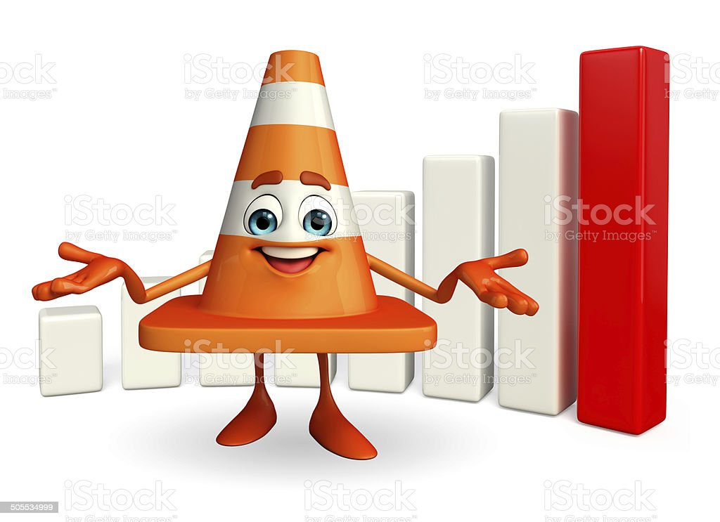 Construction Cone Character with business graph stock photo
