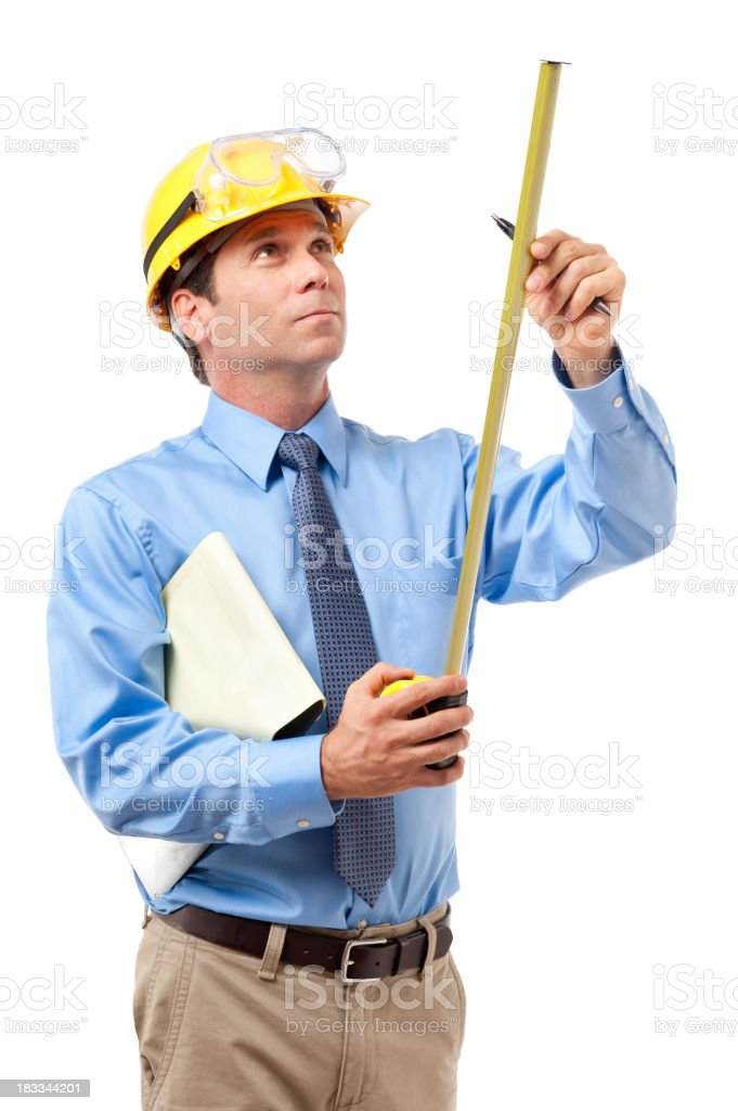 Construction Contractor Businessman Isolated on White Background royalty-free stock photo