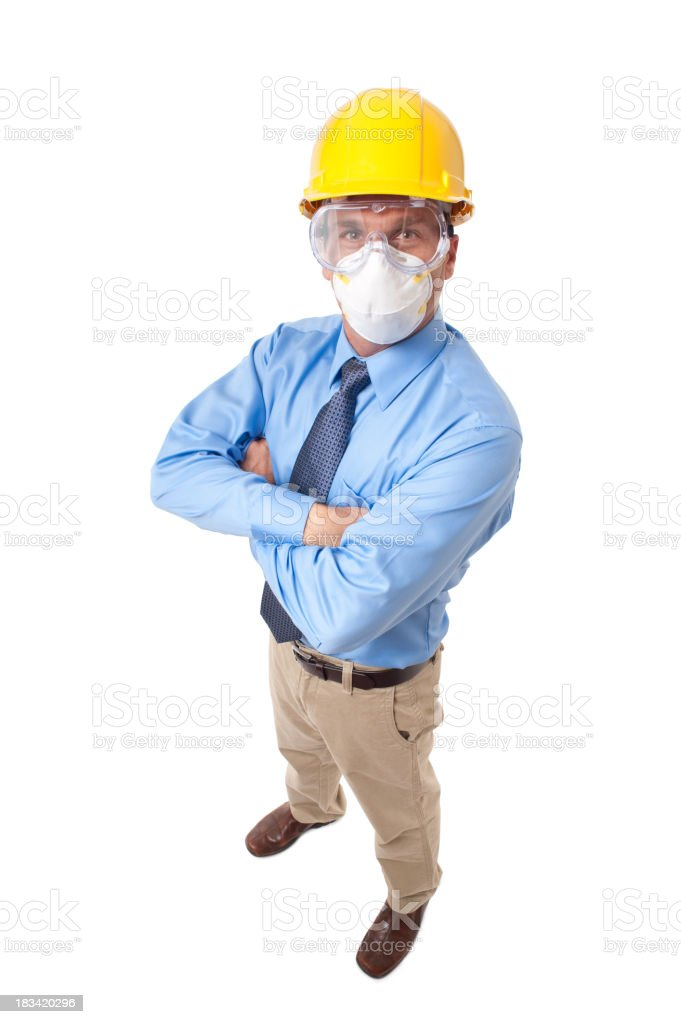 Construction Contractor Businessman Isolated on White Background stock photo