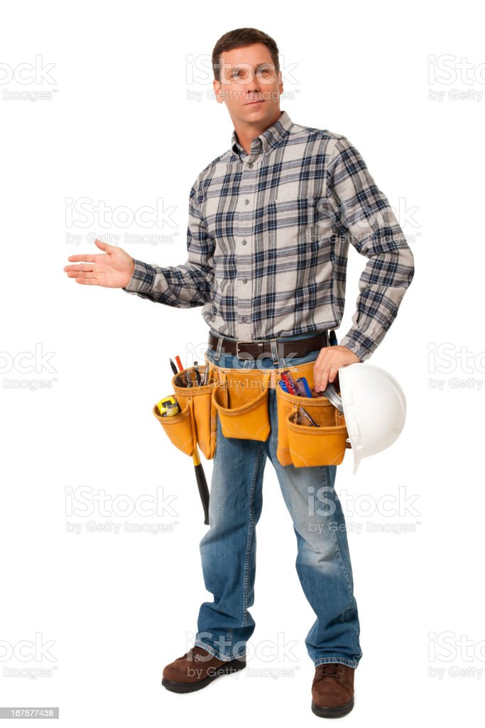 Construction Contractor Carpenter Gesturing Isolated on White Background royalty-free stock photo