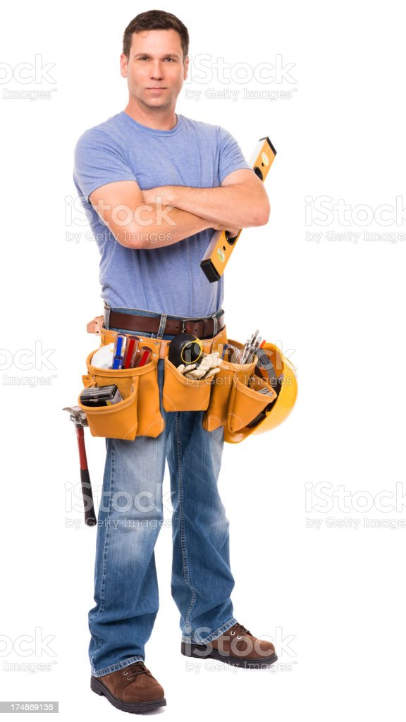 Construction Contractor Carpenter Isolated on White Background royalty-free stock photo