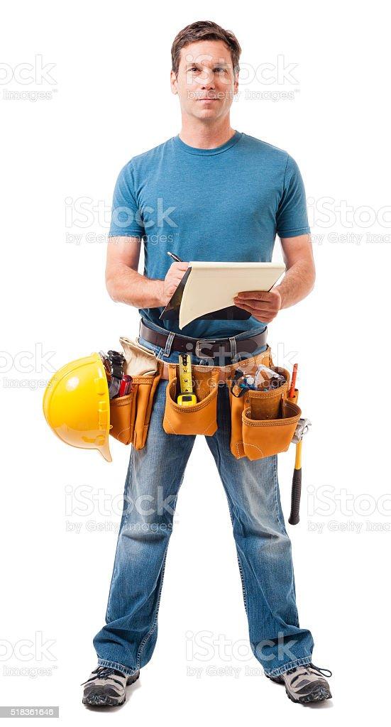 Construction Contractor Carpenter on White stock photo