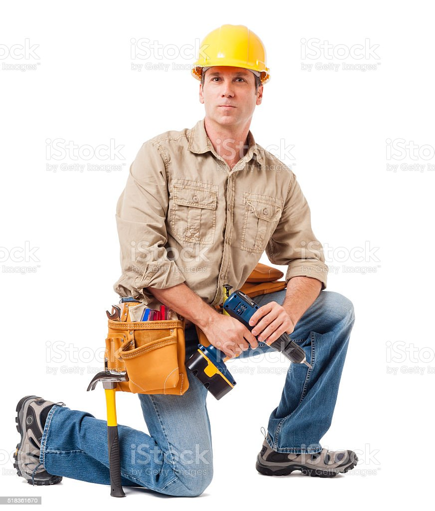Construction Contractor Carpenter on White stock photo