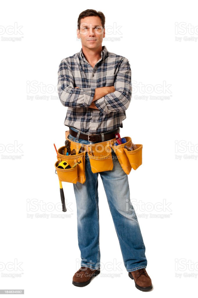 Construction Contractor Carpenter with Arms Crossed Isolated on White Background stock photo