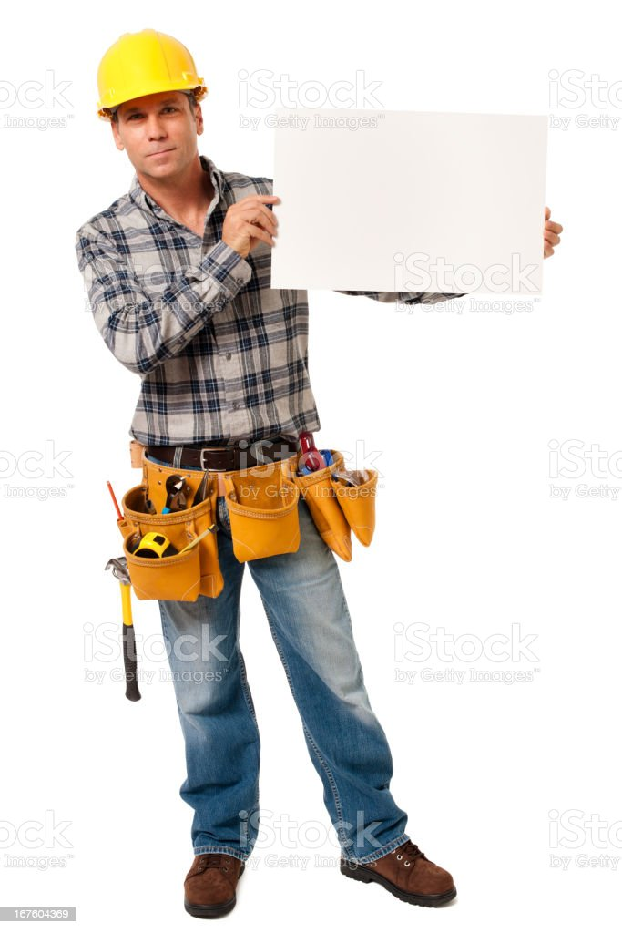 Construction Contractor Carpenter with Blank Sign Isolated on White Background royalty-free stock photo