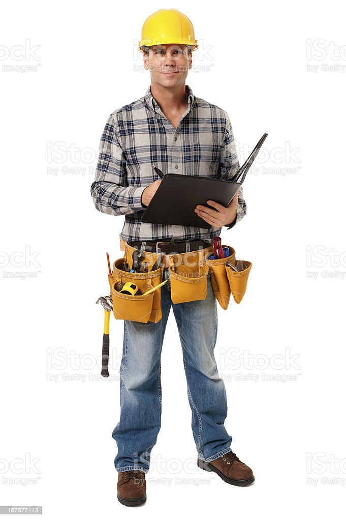 Construction Contractor Carpenter with Folder Folio Isolated on White Background stock photo