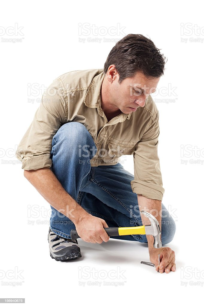 Construction Contractor Carpenter with Hammer Isolated on White Background royalty-free stock photo