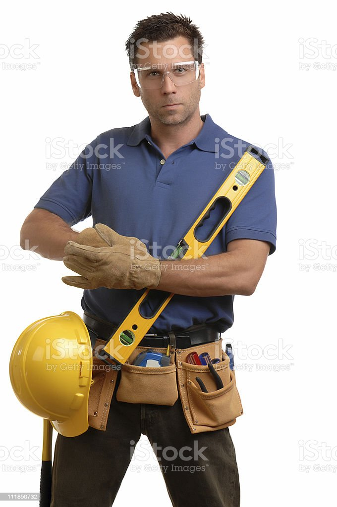 Construction Contractor Carpenter with Hard Hat Toolbelt on White royalty-free stock photo
