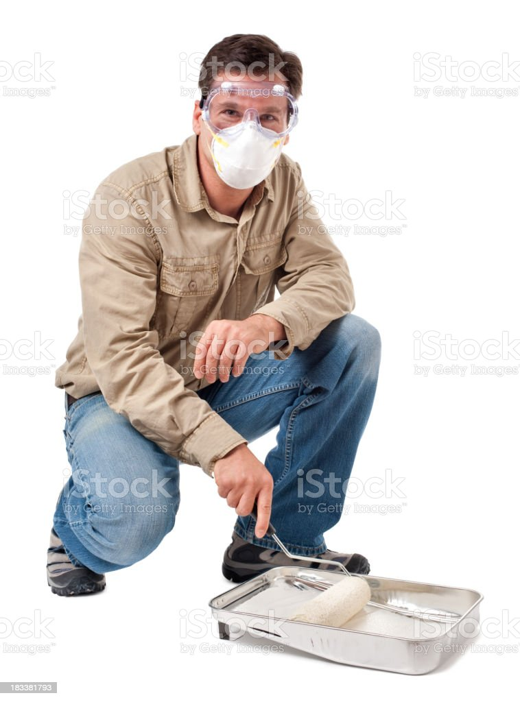 Construction Contractor Carpenter with Paint Roller on White royalty-free stock photo