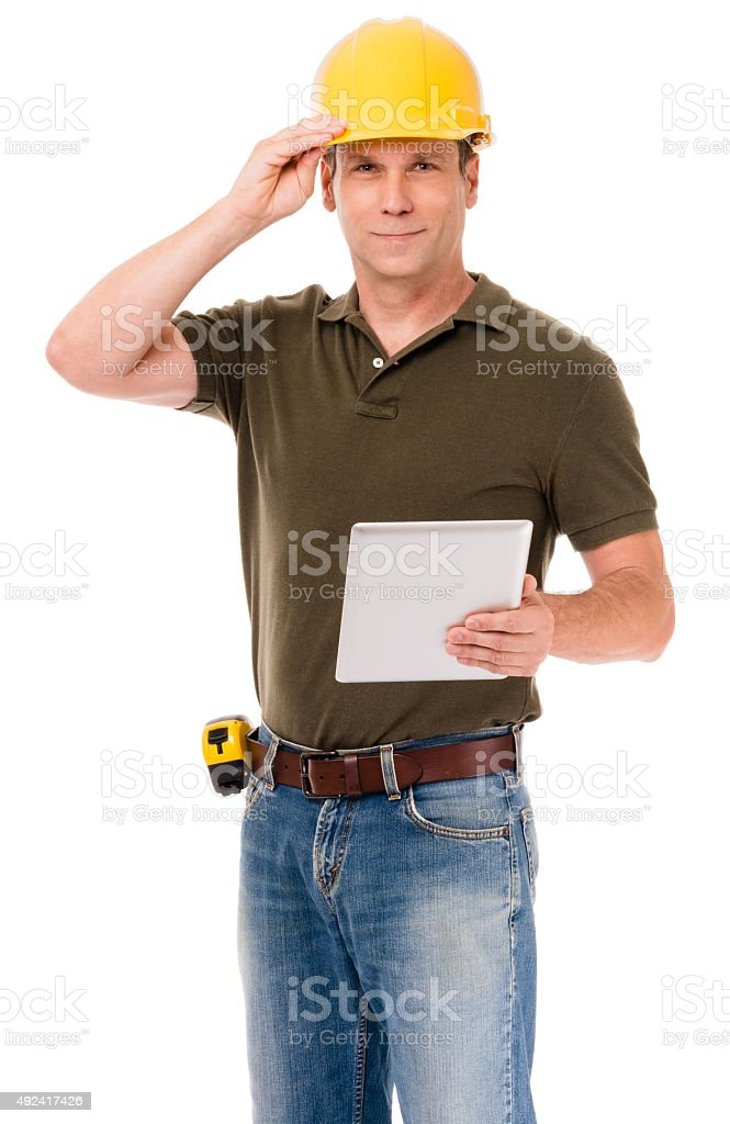 Construction Contractor Inspector on White stock photo