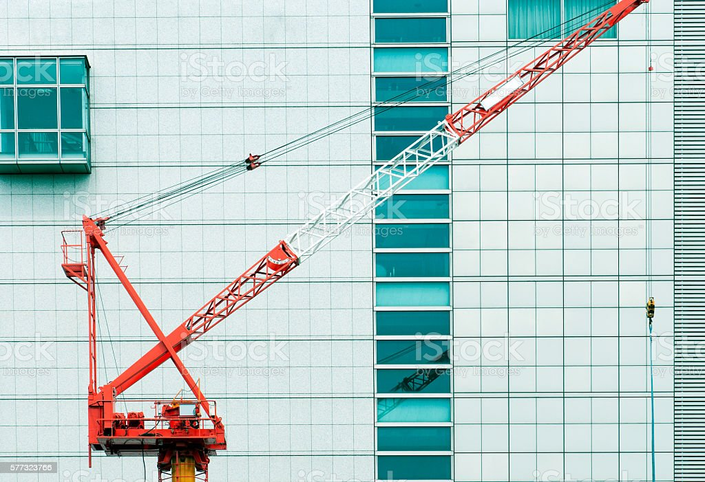 Construction crane and building in Kobe Japan stock photo