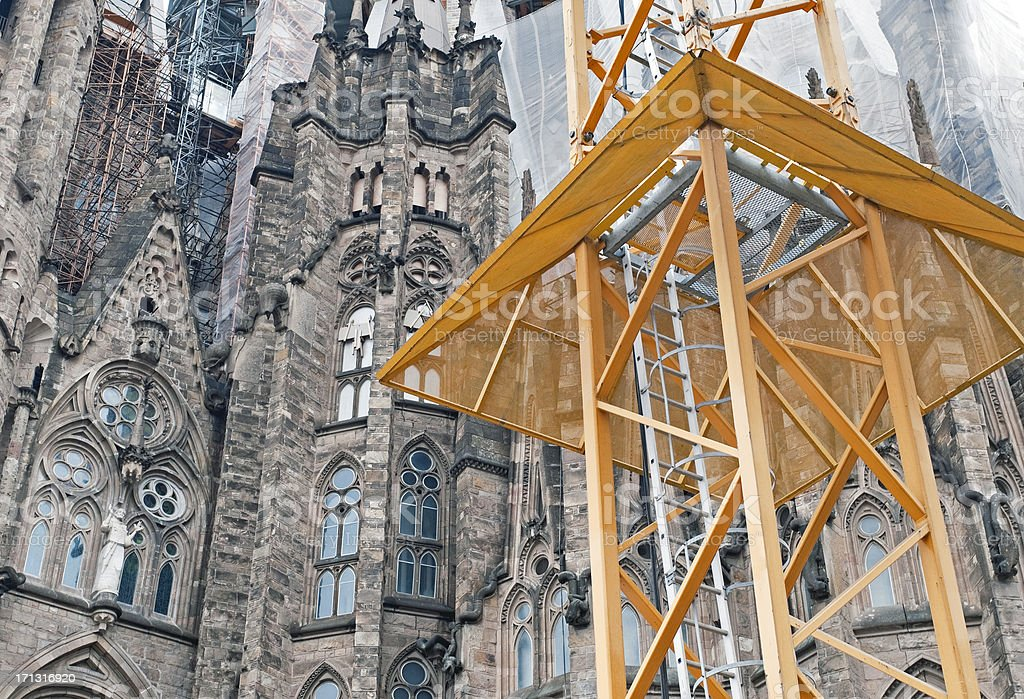 Construction crane base at cathedral in Barcelona royalty-free stock photo