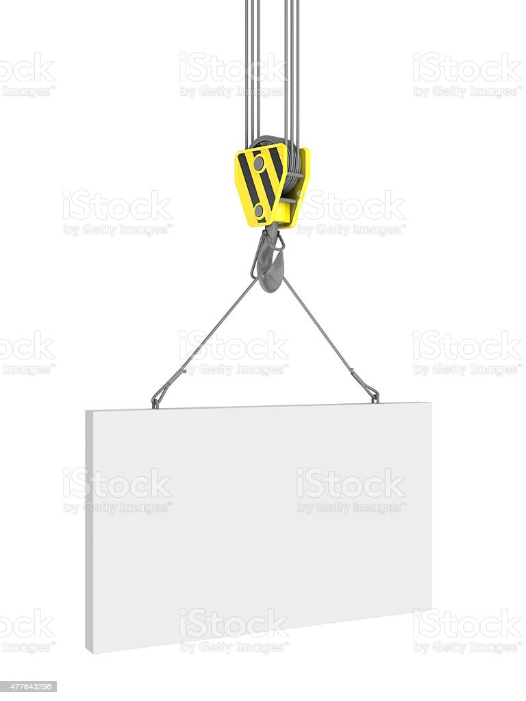 Construction crane carrying a load on white. royalty-free stock photo