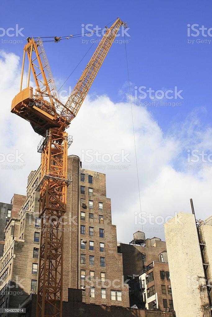 Construction (Tower) Crane in Midtown New York City stock photo