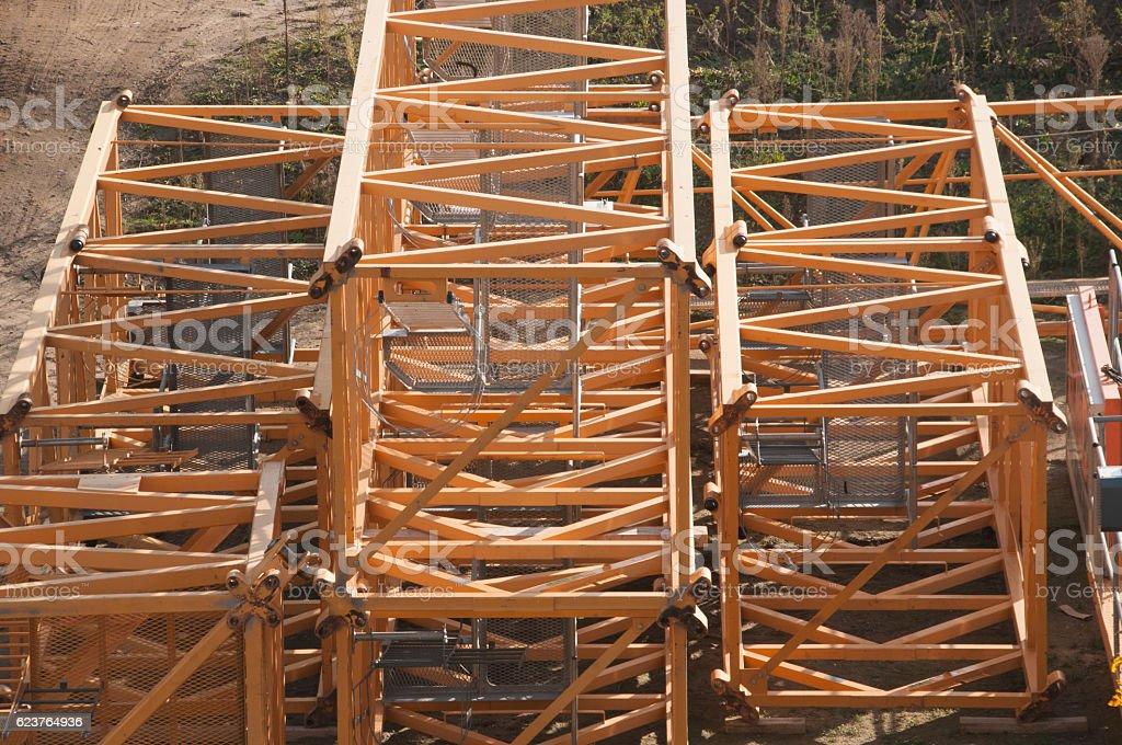 Construction crane parts on construction site stock photo