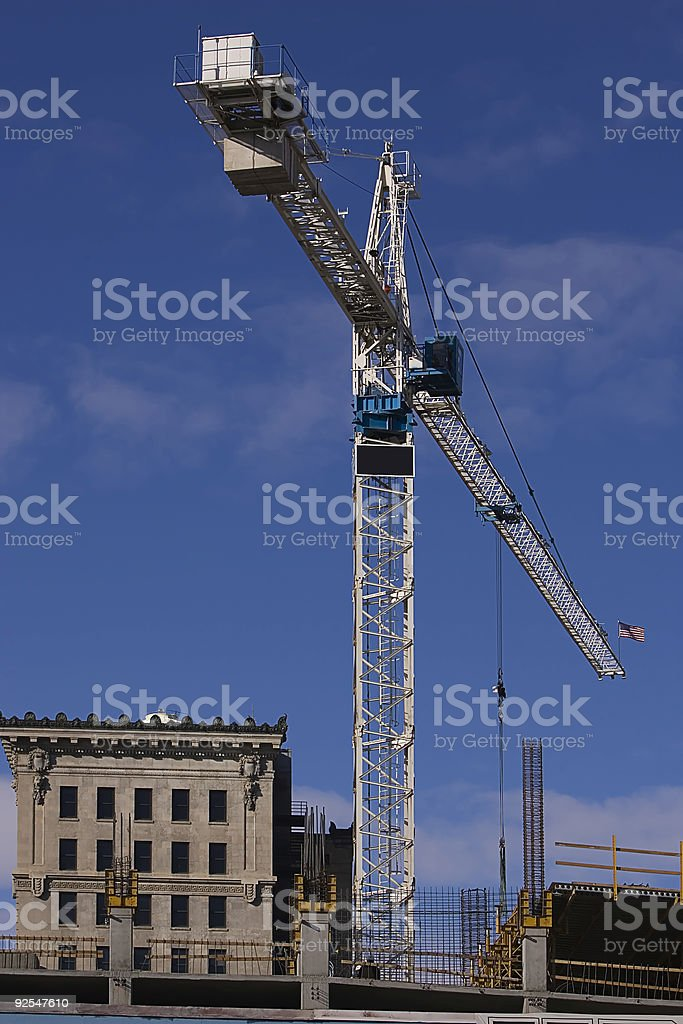 Construction Crane with blank sign for copy/text royalty-free stock photo