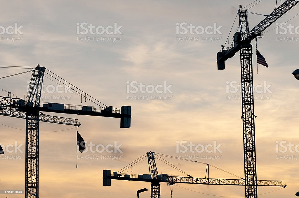 Tower construction cranes royalty-free stock photo