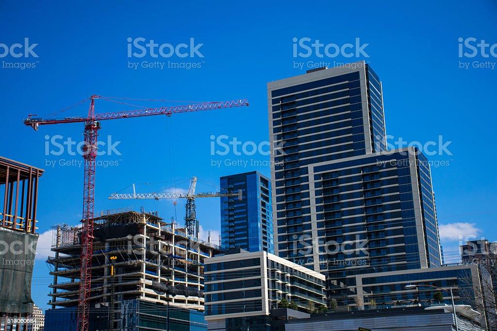 Construction Cranes Build a New Austin Texas 2016 stock photo