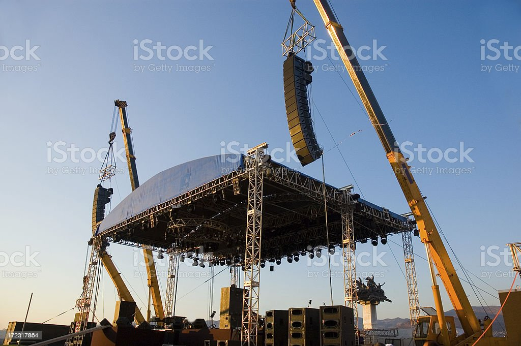 Construction cranes building a stage set royalty-free stock photo