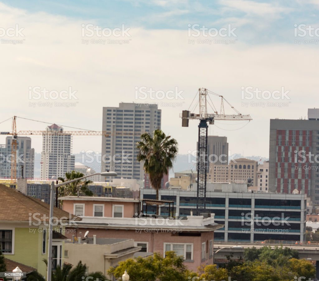 Construction Cranes in use in San Diego,California stock photo