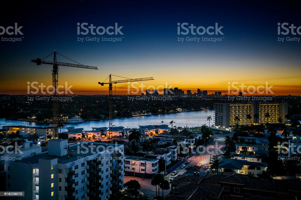Construction Cranes on Sunset stock photo