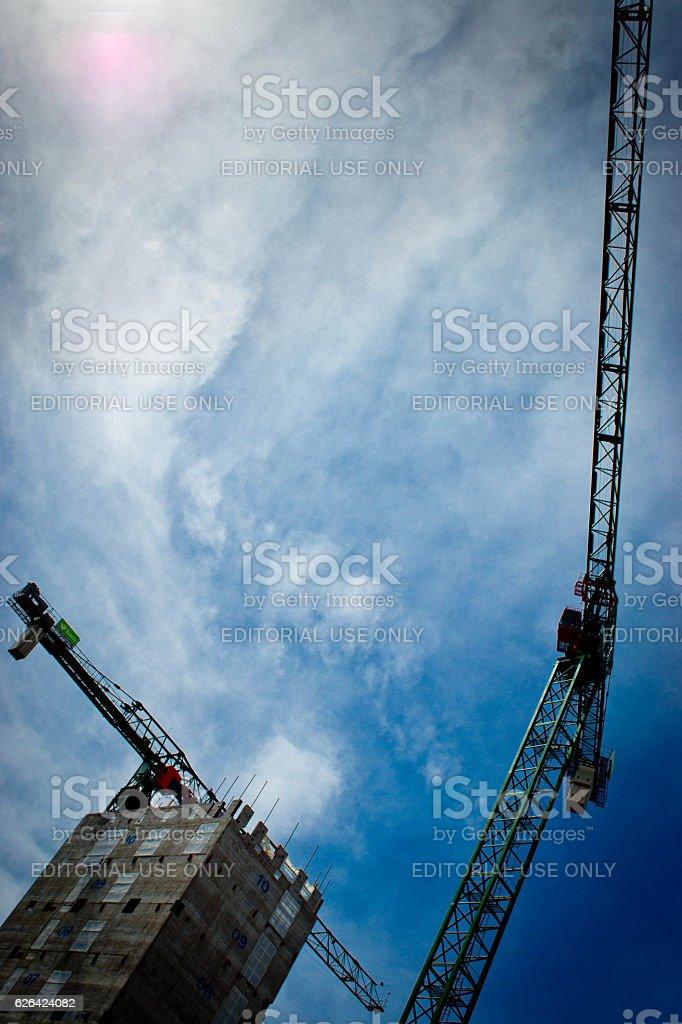 Construction cranes stock photo