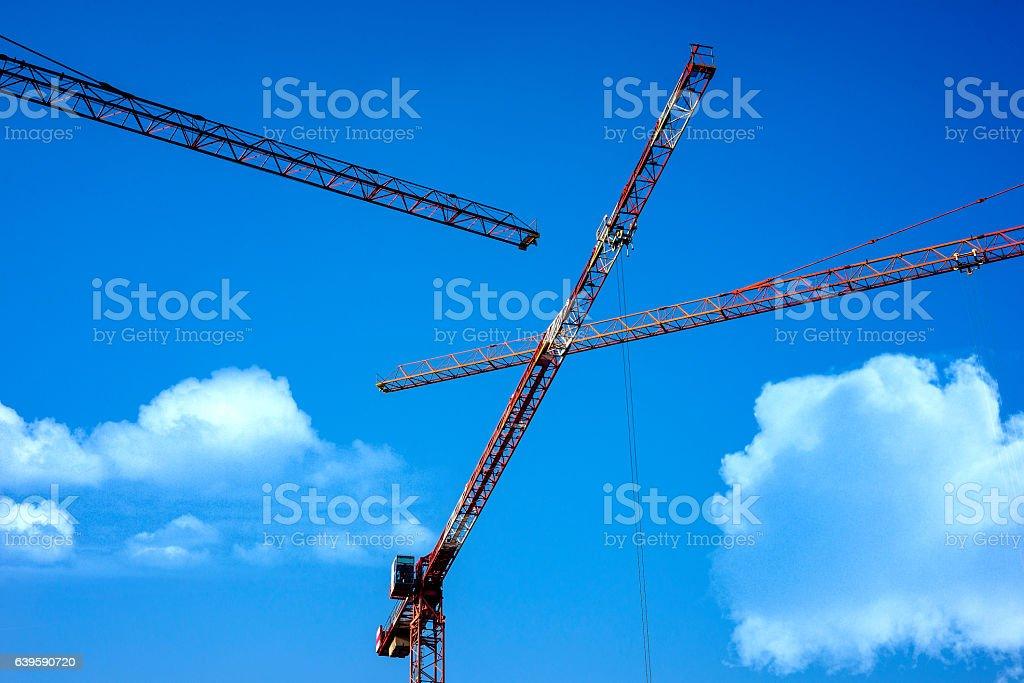Construction cranes. stock photo