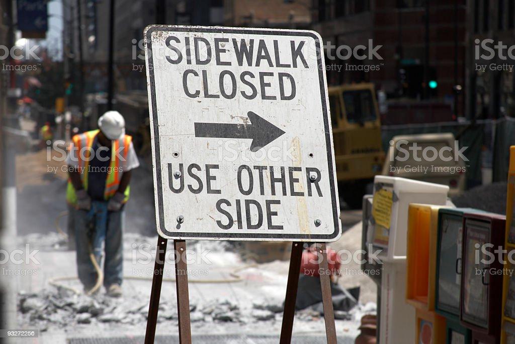 Construction demolition of sidewalk stock photo