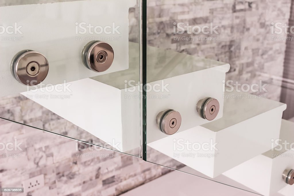 Construction details : Tempered glass balustrade fitting beside stock photo