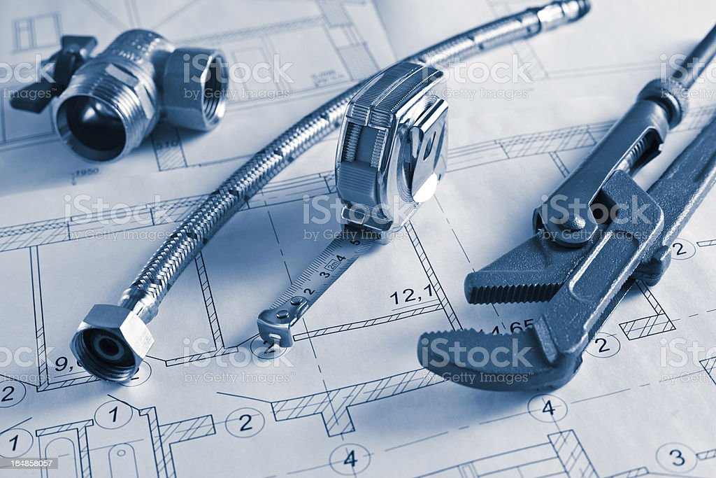 construction drawings and plumbings royalty-free stock photo