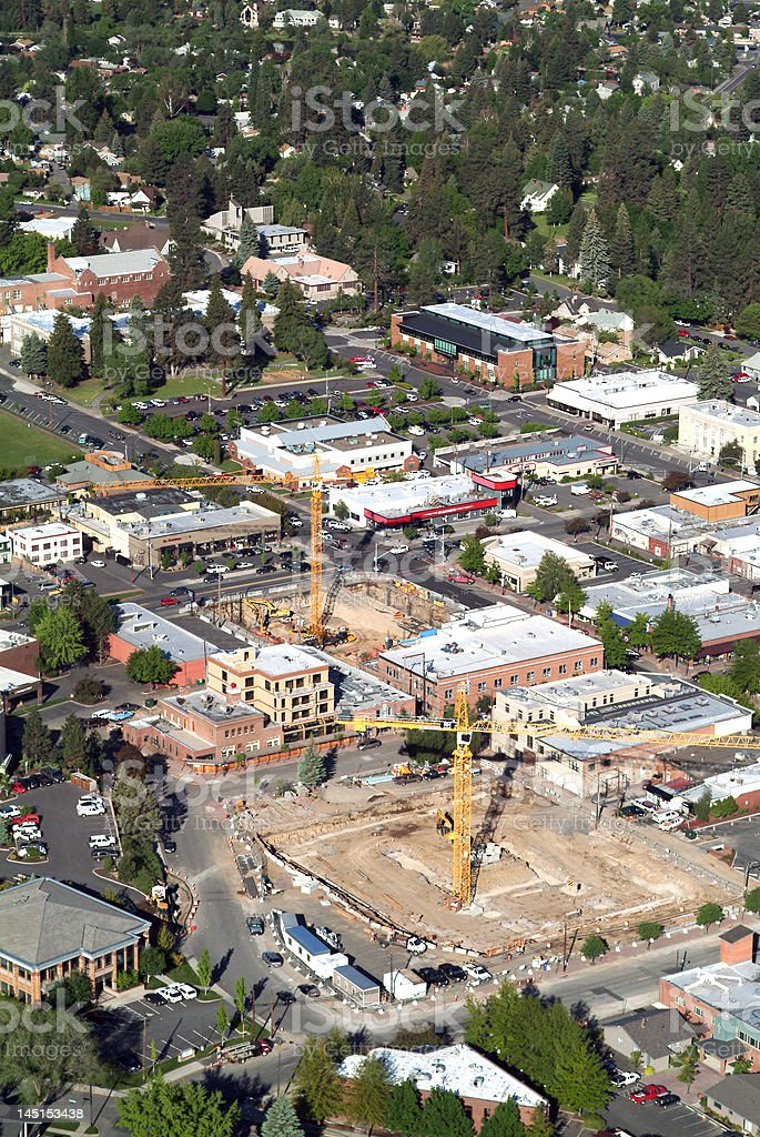 construction dual cranes royalty-free stock photo