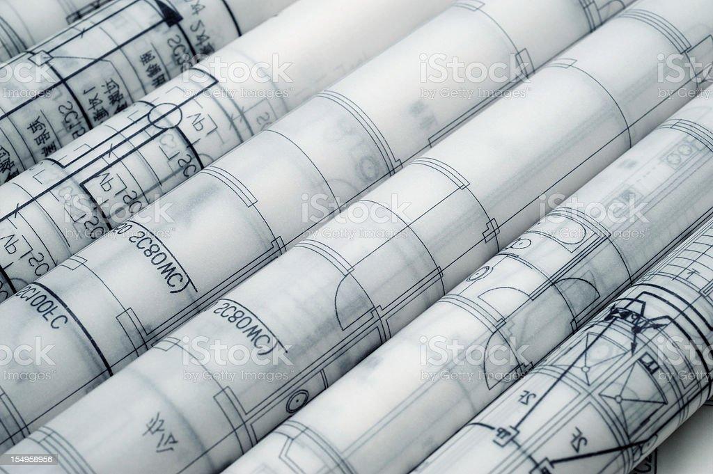 Construction Engineering Blueprint-Real Estate  Printout Document stock photo