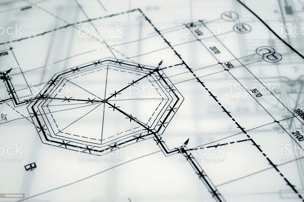 Construction Engineering Blueprint-Real Estate  Printout Document stock photo