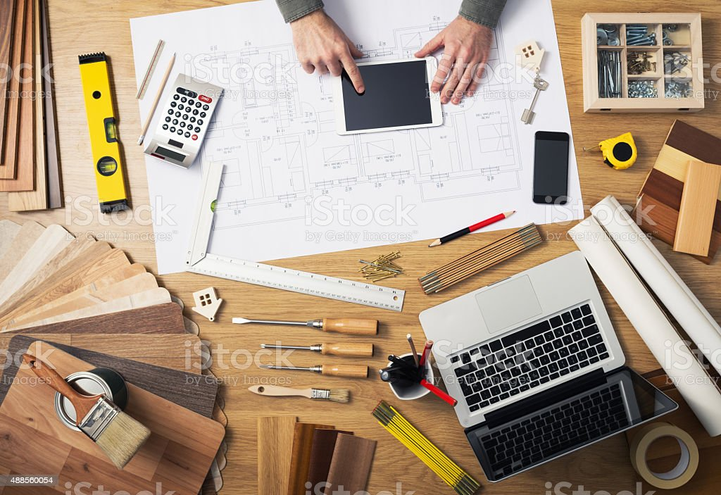 Construction engineer's desk stock photo