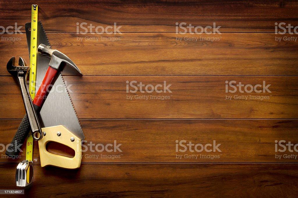 Construction Equipment on Wood stock photo