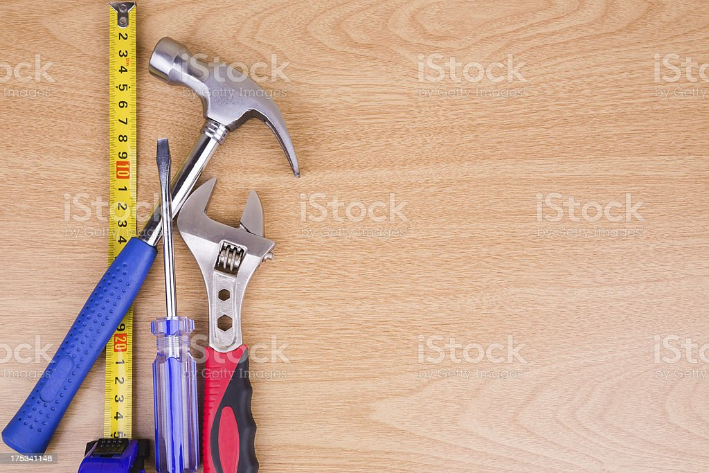 Construction Equipment on Wood royalty-free stock photo