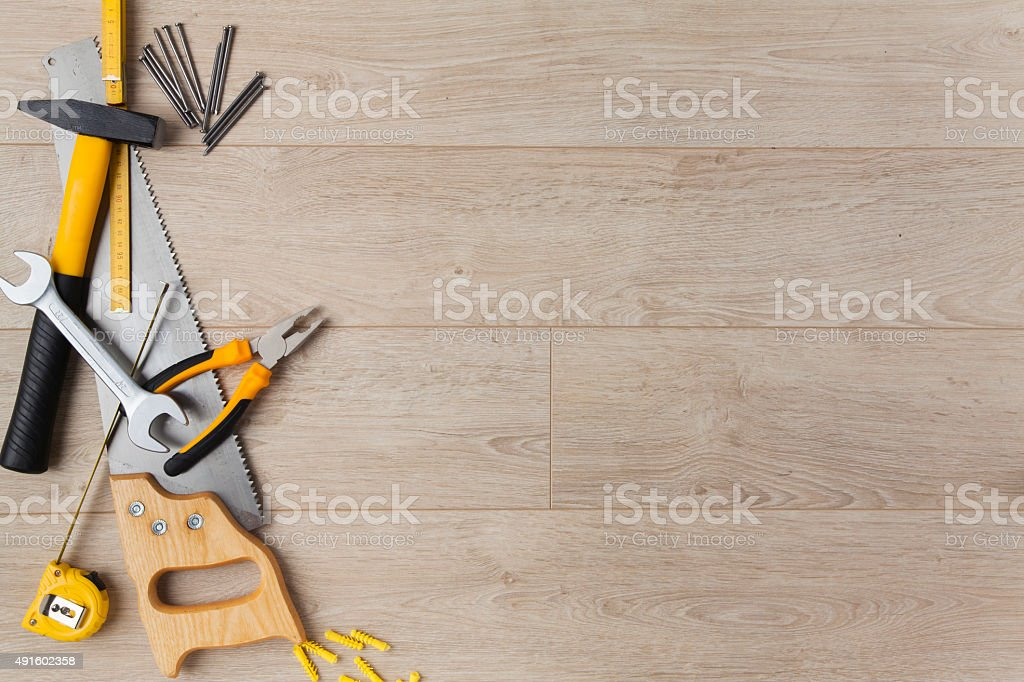 Construction Equipment on Wood stock photo