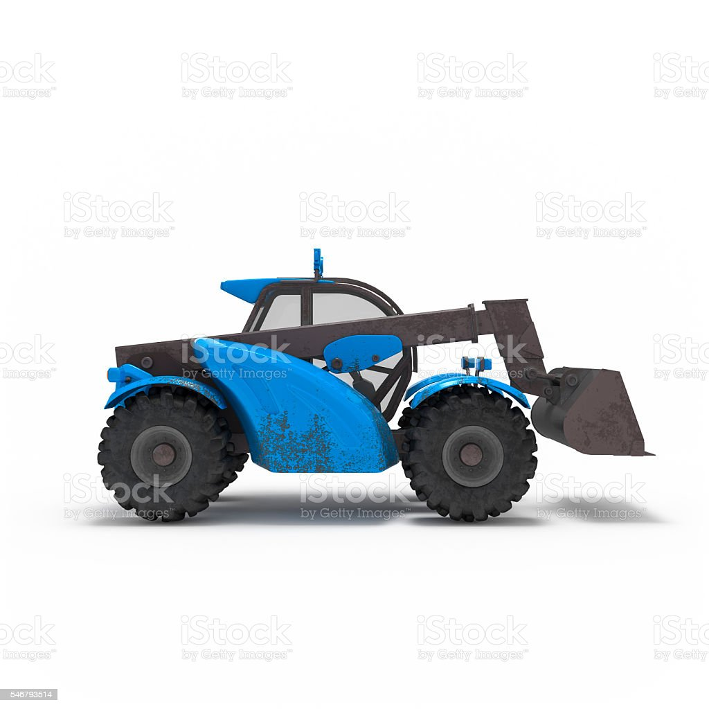 Construction excavator side view isolated 3d rendering stock photo