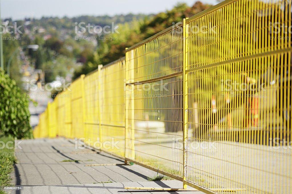 Construction fence close up stock photo